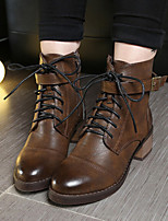 Women's Shoes Low Heel Bootie / Round Toe / Closed Toe Boots Dress / Casual Black / Brown / Taupe