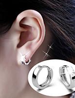 S925 Fine Silver  Hoop Earrings for Men&Women,Fine Jewelry(width:3.5mm)