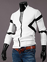 Men's Long Sleeve Jacket , Cotton Casual Color Block