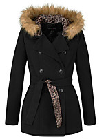Women's Solid Black Coat , Casual Long Sleeve Polyester