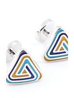 Toonykelly® Fashion Copper Silver Plated Color Enamel Triangle Gift Button Cufflinks(1 Pair)