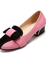 Women's Shoes Fleece Summer/ Round Toe Heels Office & Career / Casual Chunky Heel Split Joint Blue / Pink / Beige