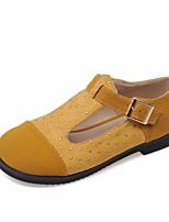 נשים-שטוחות-פליז-נוחות נעלי בובה (מרי ג'יין)-שחור חום צהוב אדום-משרד ועבודה יומיומי ספורט-עקב שטוח