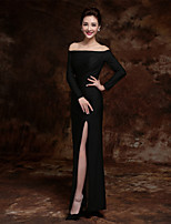 Formal Evening Dress - Black Sheath/Column Bateau Floor-length Stretch Satin