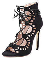 Women's Shoes Fur Stiletto Heel Heels / Peep Toe Sandals Office & Career / Party & Evening / Dress / Casual Black