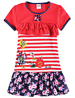 Girl's Dress Stripes Floral Dress Flower Embroidery Children Dresses(Random Printed)