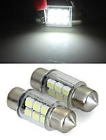 흰색 돔 6 SMD 자동차 인테리어 전구 빛 31mm 주도 (2 개)