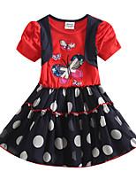 Children's Dress Princess Butterfly Embroidery Girls Dresses(Random Printed)