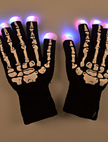 Halloween LED Light Skeleton Pattern Gloves for Party Cycling Finger Lighting Warm Keeping for Party Club Dance