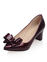 Women's Shoes Patent Leather Chunky Heel Heels / Pointed Toe Heels Office & Career / Casual Green / Red / Silver / Gray