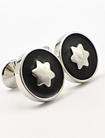 Toonykelly® Fashion Copper Silver Plated Enamel Star Gift Button Cufflinks(1 Pair)
