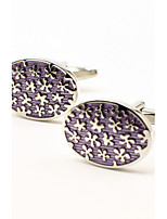Toonykelly® Fashion Copper Silver Purple Color Enamel Oval Flower Gift Button Cufflinks(1 Pair)