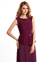 Women's Wrap Vests Sleeveless Chiffon / Lace Grape Wedding / Party/Evening Scoop 39cm Lace Zipper