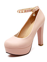 Women's Summer / Fall Heels / Round Toe PU Office & Career / Casual Chunky Heel Imitation Pearl / Buckle Blue / Pink / White