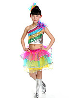 Latin Dance Outfits Kid's Performance Plastic 3 Pieces Sleeveless Dropped Skirts Tops Headpieces