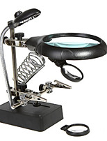 2-in-1 Soldering Adjustable Auxiliary Clip Magnifier with 4-LED Light