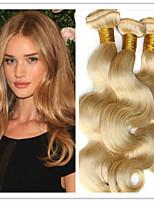 3pcs / lot 8a brasilianische reine Haarkörperwelle Honig blonde Echthaar Haarverlängerungen 8-34inches, keine Verwicklung, kein Sheding