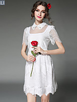 Vintage Fashion Women Embroidery Lace Hollow Bead Patchwork See Through Plus Size Dress White