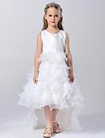 A-line Court Train Flower Girl Dress - Tulle / Polyester Sleeveless