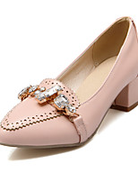 Women's Heels Spring Fall Comfort PU Office & Career Casual Chunky Heel Rhinestone