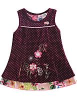 Children's Dress Corduroy Polka Dot Flower Dress Girls Dresses(Random Printed)