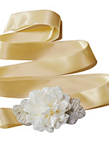 Satyna Ślub / Impreza / bal / Na co dzień Szarfa-Koraliki / Perły / Kwiaty / Falbany / Kryształ górski Damskie 98 ½ cali (250cm)Koraliki