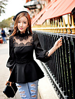 DABUWAWA Women's Stand Collar ¾ Sleeve Patchwork Lace Solid Color Black Vintage Casual  Tops & Blouse