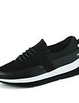 Hombre-Tacón Plano-Confort-Zapatillas de Atletismo-Exterior Informal Deporte-Ante Semicuero-Negro Negro/Rojo Negro/blanco