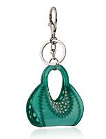 2016 Green Acrylic Crystal Key Chains Lovely Jewelry Handbag Car Keychain Women Holder Key Ring Wholesale