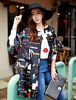 DABUWAWA Women's Round Neck ½ Length Ruffles Sleeve Print Black Cute Casual Loose Trench Coats & Jackets