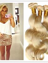 3pcs / lot sin procesar peruano cuerpo virginal del pelo de la onda de miel extensiones de cabello rubio cabello virgen 8a
