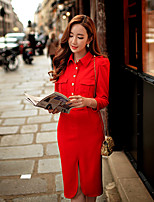 DABUWAWA Women's Shirt Collar Puff Long Sleeve Solid Color Red Bodycon Work Dresses