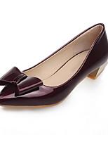 Calçados Femininos-Saltos-Conforto / Bico Fino-Salto Baixo-Verde / Vermelho / Prateado / Cinza-Couro Envernizado-Escritório & Trabalho /