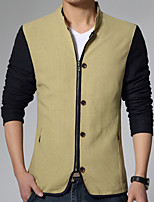 Men's Long Sleeve Casual / Work Jacket,Cotton / Polyester Solid / Patchwork Black / Brown / Yellow HXTX-5320