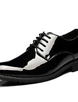 Черный-Для мужчин-Для прогулок Для офиса Повседневный Для вечеринки / ужина-Лакированная кожаУдобная обувь-Туфли на шнуровке