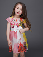 Girl's Floral Dress,Cotton / Polyester Summer / Spring / Fall Multi-color