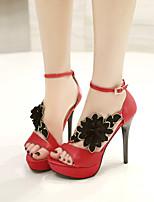 נעלי נשים-סנדלים-משי-עקבים / פלטפורמה-שחור / אדום-חתונה / שמלה / מסיבה וערב-עקב סטילטו