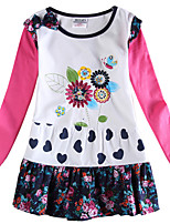 Girl's Dress Long Sleeves Floral Dress Kids Clothes Children Dresses(Random Printed)