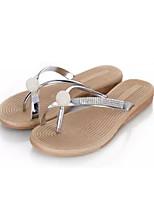 Women's Shoes Leatherette Flat Heel Flip Flops Slippers Outdoor Silver