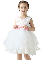 New Cute Girl Princess Mini Dress Rhinestones V Neck Sleeveless Back Zipper Pageant Dress