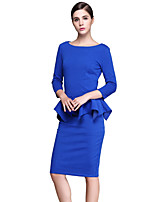 Women's Plus Size / Casual/Daily Vintage / Sophisticated Bodycon DressSolid Round Neck Knee-length  Sleeve Blue Dress