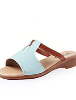 Women's Shoes Leatherette Flat Heel Comfort / Round Toe Slippers Dress / Casual Blue / Yellow / Pink / White