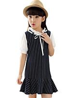 Girl's Blue Dress,Striped Cotton Summer