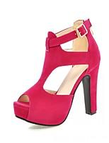 Women's Shoes Leatherette Stiletto Heel Peep Toe Sandals Wedding / Office & Career / Party & Evening Black / Almond