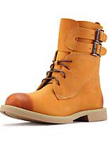 Chaussures Femme-Extérieure-Kaki-Talon Plat-Rangers-Bottes-Nappa Leather
