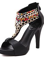 Chaussures Femme-Habillé-Noir-Talon Aiguille-Talons / A Bride Arrière / Bout Ouvert-Sandales-Similicuir