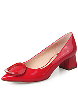 Women's Shoes Microfibre Chunky Heel Heels / Closed Toe Heels Dress Black / Green / Pink / Red / Orange