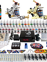 Solong Tattoo® Complete Tattoo Kit 2 Pro Machine Guns 40 Inks Power Supply Foot Pedal Needles Grips Tips TK228