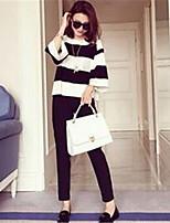 Women's Striped Black Set,Street chic ¾ Sleeve