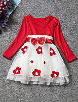 Girl's Blue / Pink / Red Dress,Floral Spandex Fall / Spring
